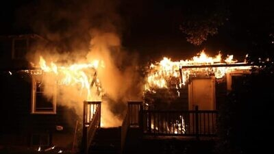 A fire at the University of Delaware Chabad in Newark, Del., has been ruled an arson, Aug. 25, 2020. Credit: Dave Wilson/Aetna Hose, Hook & Ladder Company.