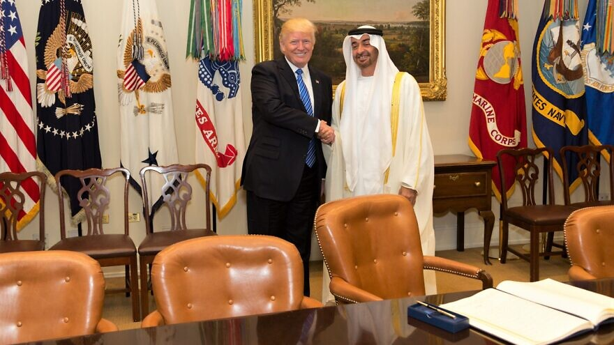 U.S. President Donald Trump and Sheikh Mohammed bin Zayed Al Nahyan in the Roosevelt Room of the White House in Washington, D.C., on May 15, 2017. Official White House Photo by Shealah Craighead.