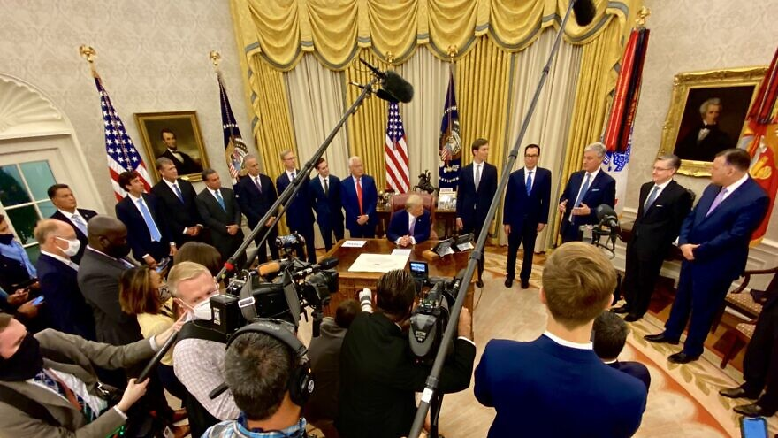 Members of U.S. President Donald Trump's Middle East peace team and foreign dignitaries from the United Arab Emirates gather at the White House on Aug. 13, 2020. Credit: White House Deputy Chief of Staff for Communications Dan Scavino Jr./Twitter.
