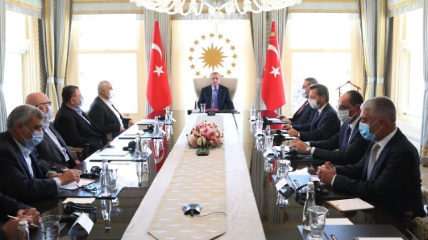 Turkish President Recep Tayyip Erdoğan hosts Hamas leaders in Istanbul on Aug. 22, 2020. Source: Twitter.