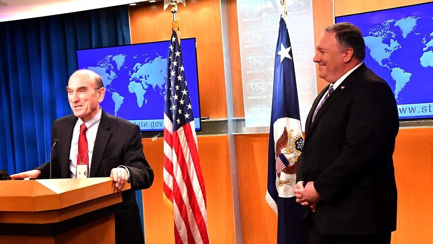 Elliott Abrams, with U.S. Secretary of State Mike Pompeo, delivers remarks to the media on Venezuela at the U.S. Department of State on Jan. 25, 2019. Credit: U.S. State Department via Wikimedia Commons.