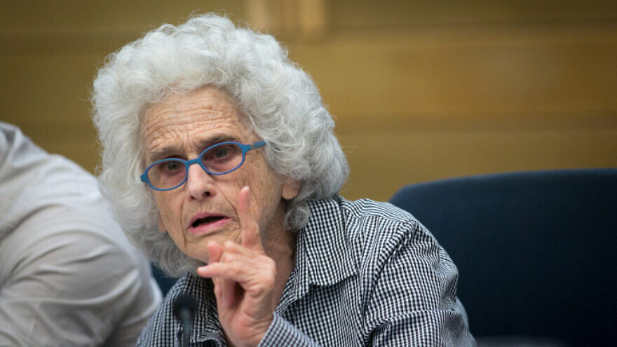 Ruth Gavison attends a discussion on the nation-state bill in the Knesset on Sept. 18, 2017. Photo by Miriam Alster/Flash90.