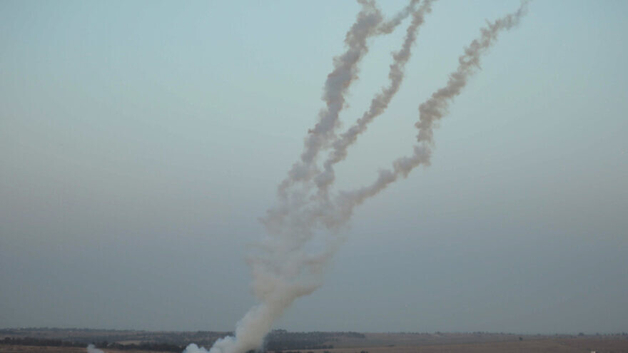 Rockets being launched from the Gaza Strip into Israel on May 4, 2019. Photo by Hassan Jedi/Flash90.