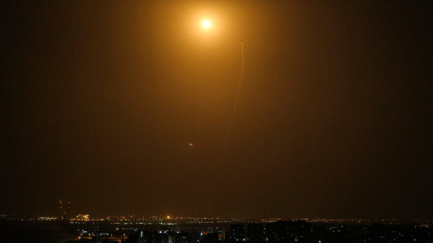 A view of an Iron Dome air-defense system intercepting rockets fired from Gaza into Israel, near the city of Ashdod. Photo by Hassan Jedi/Flash90.