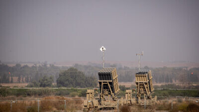 An Iron Dome battery set up near Sderot in southern Israel, near the border with the Gaza Strip, on Nov. 13, 2019. Photo by Yonatan Sindel/Flash90.
