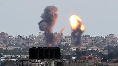 Israeli airstrikes in Khan Yunis in the southern Gaza Strip on Feb, 24, 2020. Photo by Abed Rahim Khatib/Flash90.