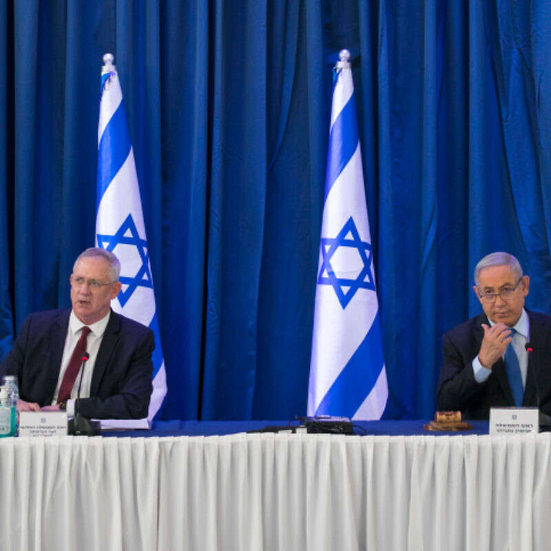 Israeli Prime Minister Benjamin Netanyahu and Defense Minister Benny Gantz at the weekly Cabinet meeting, at the Foreign Ministry in Jerusalem on June 28, 2020. Photo by Olivier Fitoussi/Flash90.