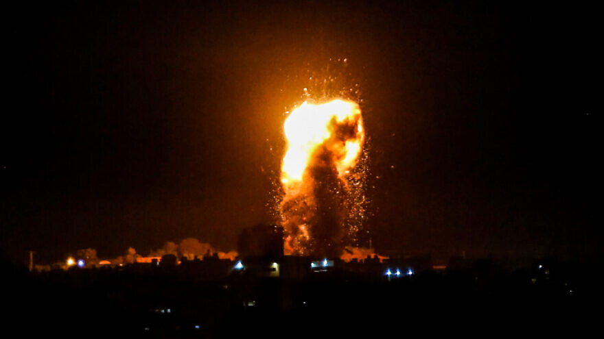 A ball of fire and smoke rises during Israeli airstrikes in the southern Gaza Strip on Aug. 3, 2020. Photo by Abed Rahim Khatib/Flash90.