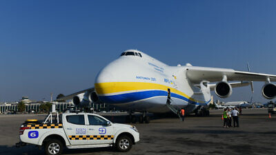 An Antonov An-225 cargo plane carrying U.S. military trucks lands at the Ben-Gurion Airport near Tel Aviv, Aug. 3, 2020. Photo by Tomer Neuberg/Flash90.