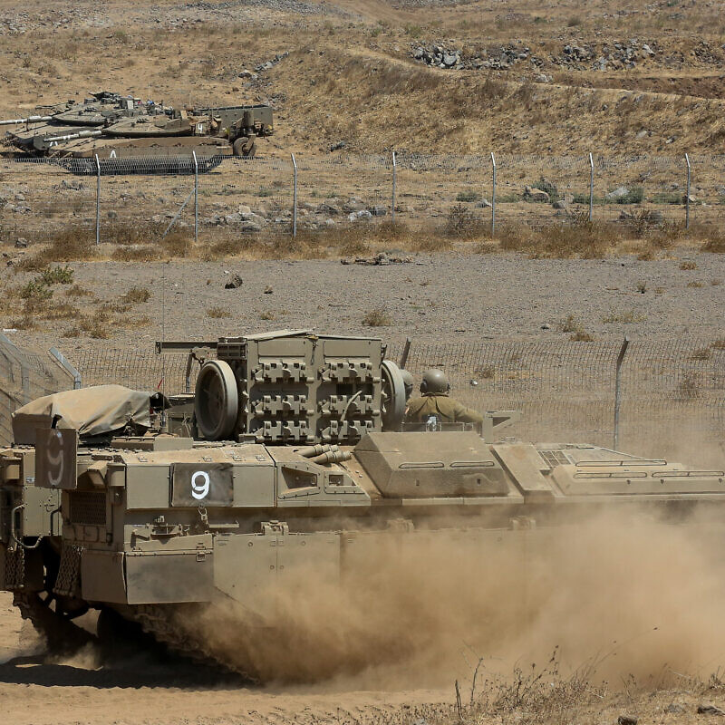 Israeli soldiers during a drill near the Israeli-Syrian border in the Golan Heights on Aug. 4, 2020. Photo by David Cohen/Flash90.