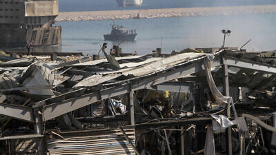 A general view of the destroyed port in the aftermath of a massive explosion in downtown Beirut, Lebanon, Aug. 5, 2020. Photo by Zaatari Lebanon/Flash90.