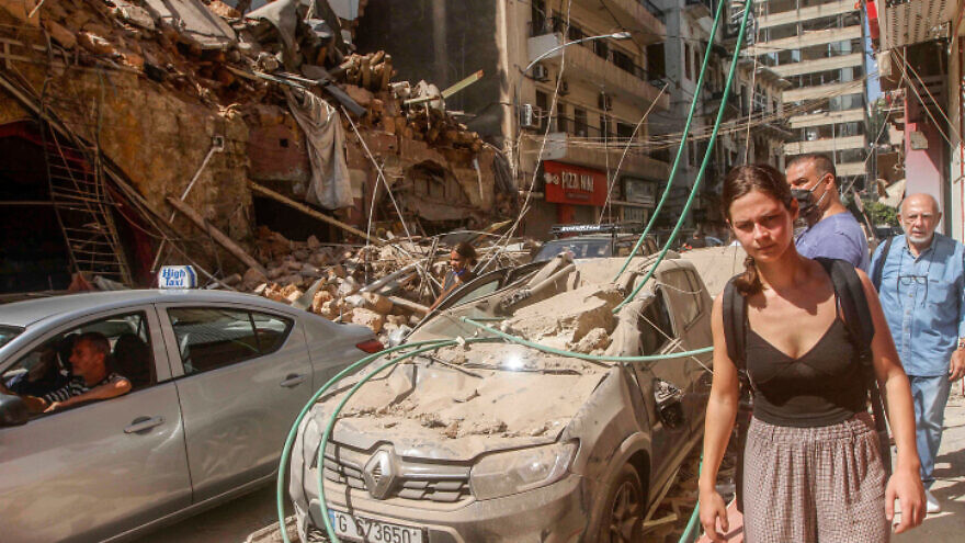 A view of damaged buildings after multiple explosions in Beirut on Aug. 5, 2020. Photo by Zaatari Lebanon/Flash90.