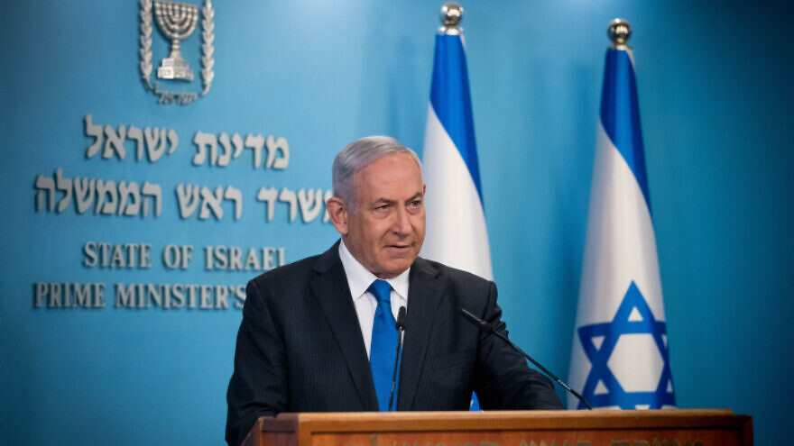 Israeli Prime Minister Benjamin Netanyahu gives a press statement at his office in Jerusalem on Aug. 13, 2020. Photo by Yonatan Sindel/Flash90.