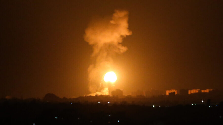 Israeli airstrikes in Khan Yunis, in the southern Gaza Strip on Aug. 16, 2020. Photo by Abed Rahim Khatib/Flash90.