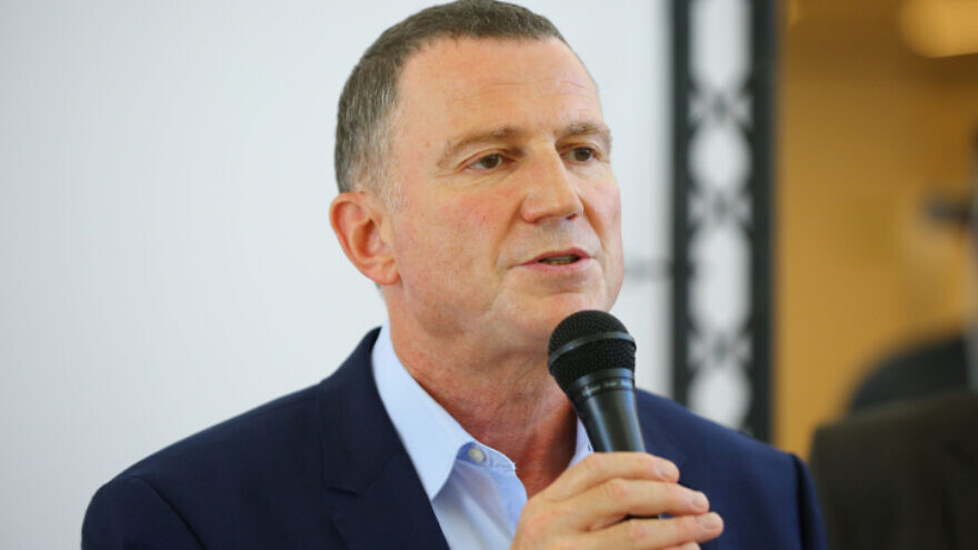 Israeli Health Minister Yuli Edelstein holds a press conference during a visit at the Assuta hospital in Ashdod on Aug. 20, 2020. Photo by Flash90.