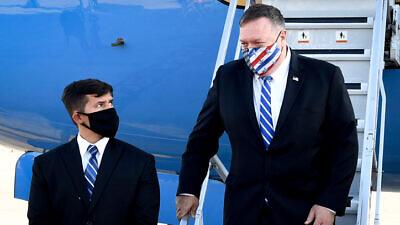 U.S. Secretary of State Mike Pompeo arrives at the Ben-Gurion International Airport on Aug. 24, 2020. Courtesy: Matty Stern/U.S. Embassy Jerusalem.