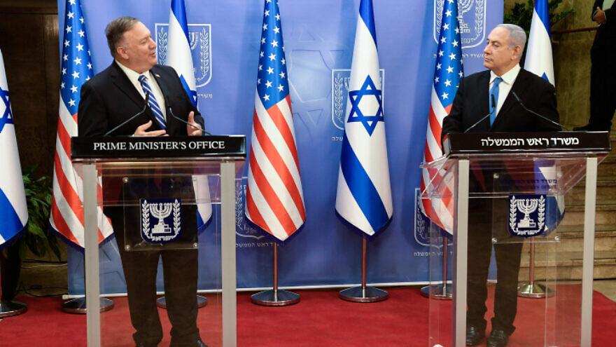 U.S. Secretary of State Michael Pompeo and Israeli Prime Minister Benjamin Netanyahu holds a joint statement in Jerusalem on Aug. 24, 2020. Photo by Matty Stern/U.S. Embassy Jerusalem.