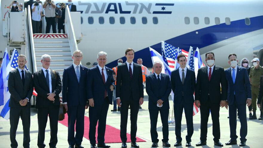 Senior adviser to U.S. President Donald Trump Jared Kushner, National Security Advisor Robert O'Brien and members of the U.S.-Israeli delegation attend a ceremony ahead of their departure from Tel Aviv to Abu Dhabi at Ben-Gurion International Airport on Aug. 31, 2020. Photo by Tomer Neuberg/Flash90.