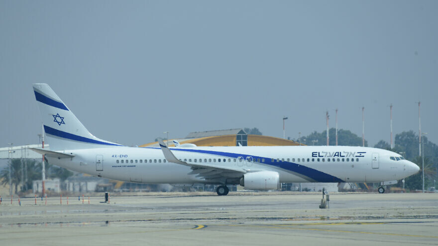 El Al plane which is carrying Israeli and U.S. delegations to Abu Dhabi departure from Tel Aviv to Abu Dhabi, at the Ben-Gurion Airport near Tel Aviv, August 31, 2020. Photo by Tomer Neuberg/Flash90