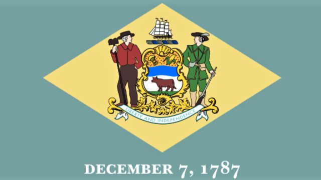 Flag of Delaware. Credit: Wikimedia Commons.