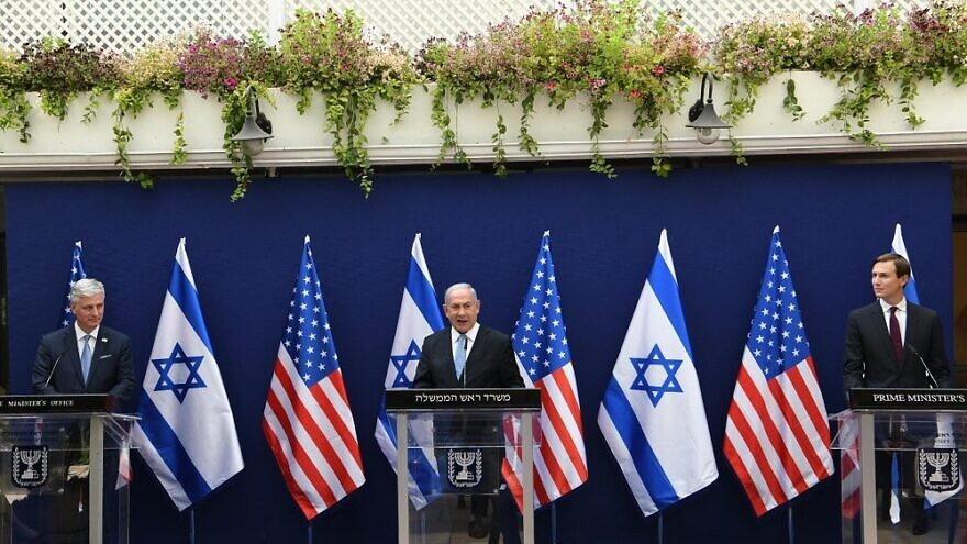 Israeli Prime Minister Benjamin Netanyahu hosts U.S. President Donald Trump senior adviser Jared Kushner and U.S. National Security Adviser Robert O'Brien, for a joint press conference ahead of the first commercial flight between Israel and the United Arab Emirates on August 30, 2020. Photo: Amos Ben-Gershom/GPO.