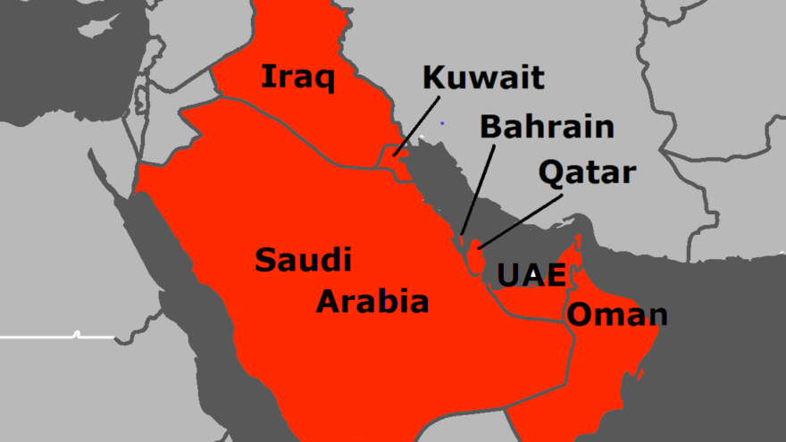 The Persian Gulf's coastline skirts seven Arab countries on its western shores and Iran to the east. Credit: Wikimedia Commons.