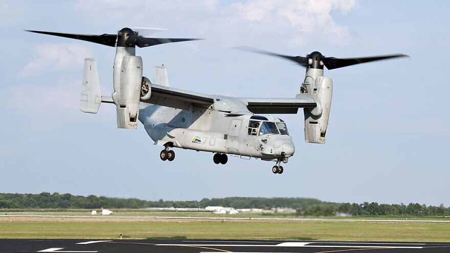 A U.S. Marine Corps MV-22 Osprey lifts off from Naval Air Station Patuxent River during a successful biofuel test flight, on Aug. 10, 2011. U.S. Navy photo by Steven Kays/Released.