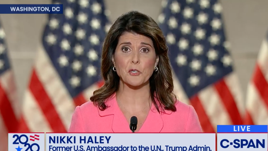 Former U.S. Ambassador to the United Nations Nikki Haley addresses the Republican National Convention on Aug. 24, 2020. Source: Screenshot.