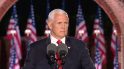 U.S. Vice President Mike Pence addresses the Republican National Convention on Aug. 26, 2020. Source: Screenshot.