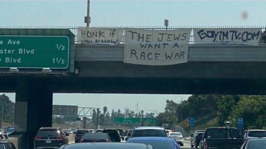 Anti-Semitic banners on a Los Angeles freeway on Aug. 22, 2020. Source: Twitter/Rick Hirschhaut.