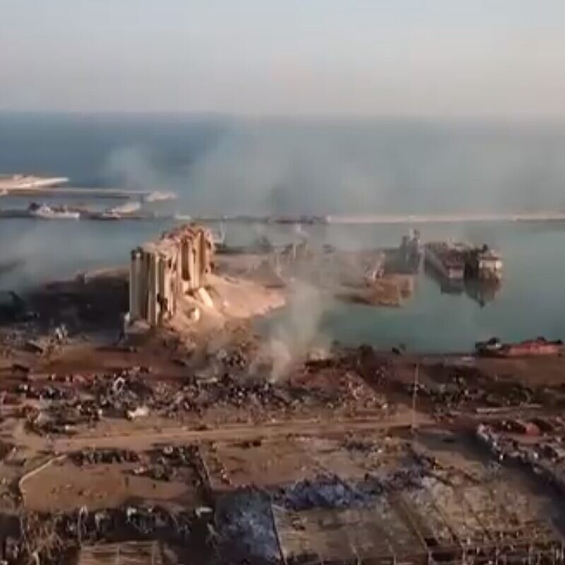 Drone footage of the aftermath of the explosions in Beirut, Aug. 5, 2020. Source: Screenshot.