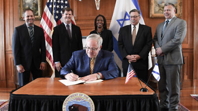 U.S. Interior Secretary David Bernhardt signs a memorandum of understanding (MOU) to support future cooperation and exchanges between the United States and Israel on biodiversity conservation, protected areas and the protection of cultural and historical heritage, Aug. 5, 2020,. Credit: U.S. Department of the Interior.