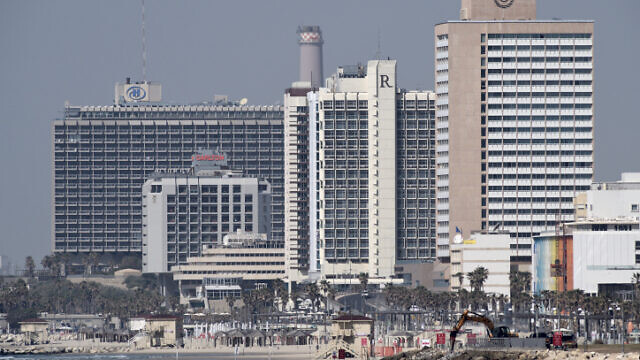 Hotels along Tel Aviv's coastline, as seen from Jaffa on March 26, 2020. Photo by Gili Yaari /Flash90.