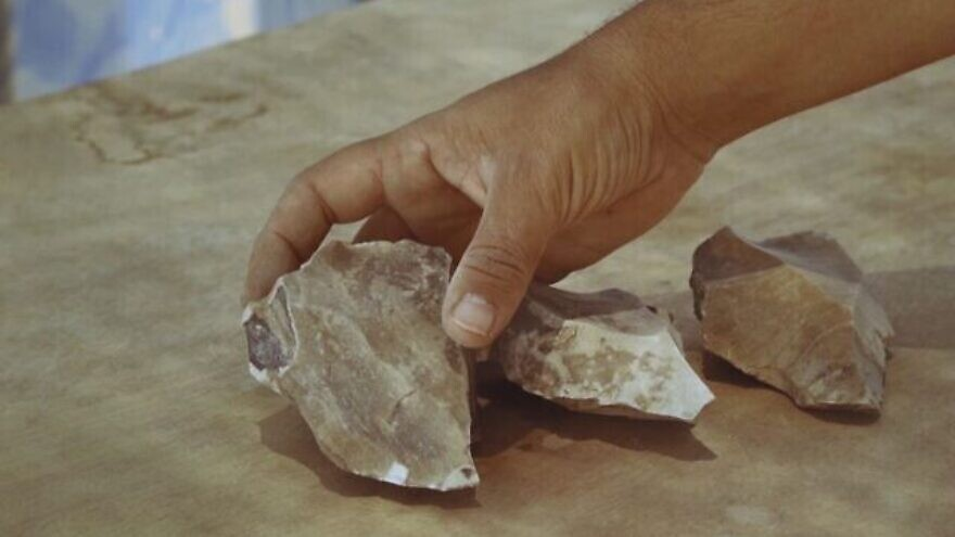 Ancient stone tools uncovered at a flint-knapping site near the city of Dimona in Israel's Negev Desert. Credit: Israel Antiquities Authority.