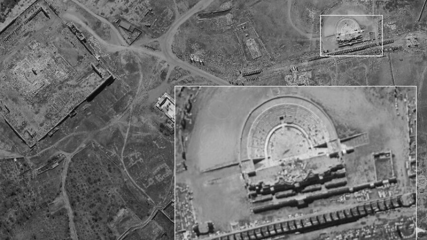 "A photograph of a Roman amphitheater in Palmyra, Syria, captured by the ""Ofek 16"" satellite, released by Israel's Defense Ministry on Aug. 24, 2020. Credit: Israeli Defense Ministry."