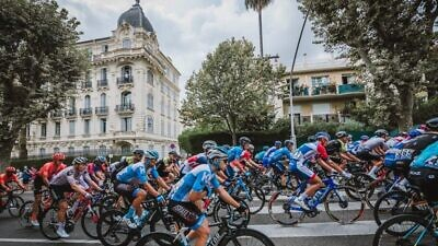 Israeli cyclists ride through the streets of Nice in the south of France on the first day of the Tour de France. Source: Facebook/Noa Arnon.