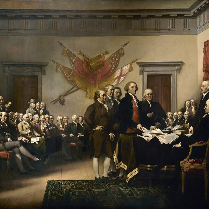 """The Declaration of Independence"" (1776) depicts the five-man drafting committee presenting their work to Congress. The painting can be found on the back of the U.S. $2 bill. The original hangs in the U.S. Capitol rotunda. Oil on canvas painting by John Trumbull, 1819. Credit: Wikimedia Commons."