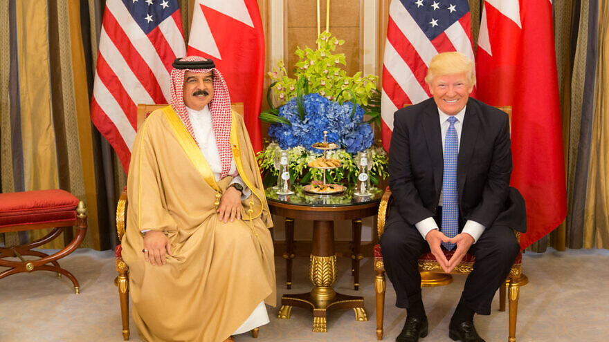 U.S. President Donald Trump meets with King Hamed bin Issa of Bahrain during their bilateral meeting at the Ritz-Carlton Hotel in Riyadh, Saudi Arabia, on May 21, 2017. Credit: Official White House Photo by Shealah Craighead.