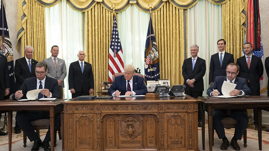 U.S. President Donald Trump participates in a signing ceremony with Serbian President Aleksandar Vučić and Kosovo Prime Minister Avdullah Hoti, on Friday, Sept. 4, 2020, in the Oval Office of the White House. Official White House Photo by Joyce N. Boghosian.