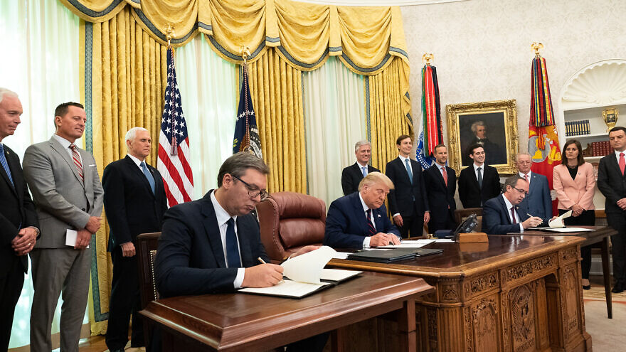 U.S. President Donald Trump, joined by Vice President Mike Pence, participates in a signing ceremony with Serbian President Aleksandar Vučić and Kosovo Prime Minister Avdullah Hoti in the Oval Office of the White House, on Sept. 4, 2020. Credit: Official White House Photo by D. Myles Cullen.