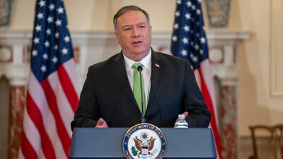 Secretary of State Michael R. Pompeo delivers remarks to the media on Iran Snapback Sanctions, at the U.S. Department of State in Washington, D.C., on September 21, 2020. Credit: State Department photo by Ron Przysucha.