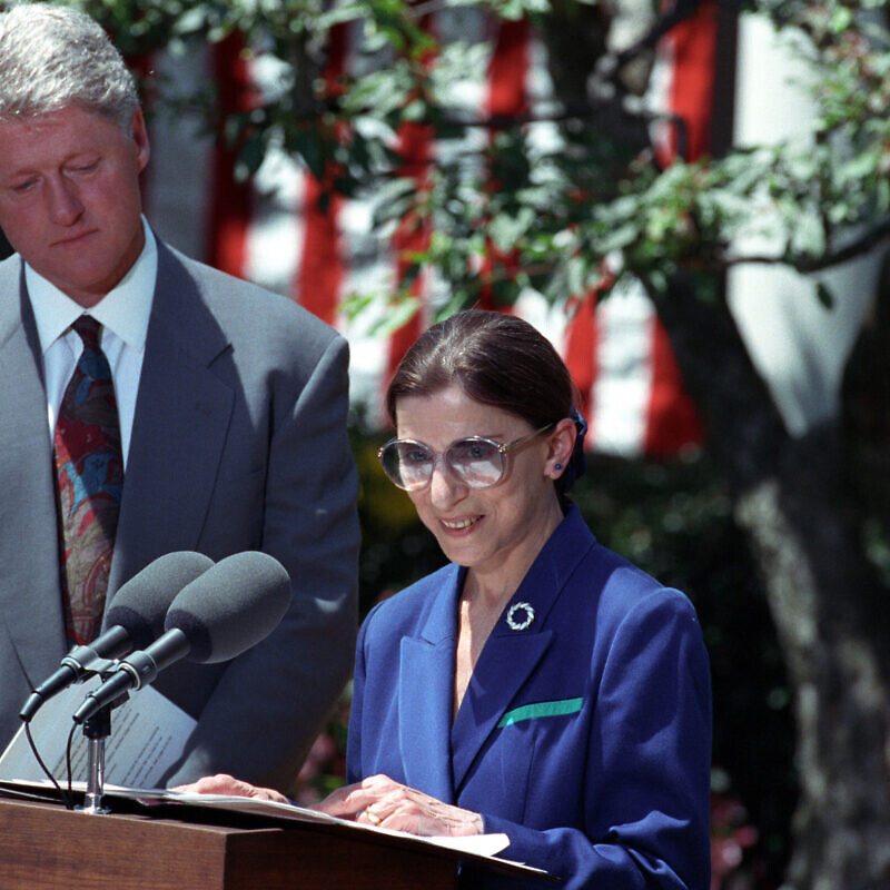 U.S. President Bill Clinton announces Ruth Bader Ginsburg as the nominee for the Supreme Court on June 14, 1993. Photo by Sharon Farmer via Wikimedia Commons (National Archives and Records Administration).