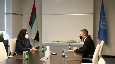 United Arab Emirates Ambassador to the United Nations Lana Nusseibeh meets with Israeli Ambassador to the United Nations Gilad Erdan at the UAE Mission on Sept. 23, 2020. Credit: UAE Mission to U.N./Twitter.