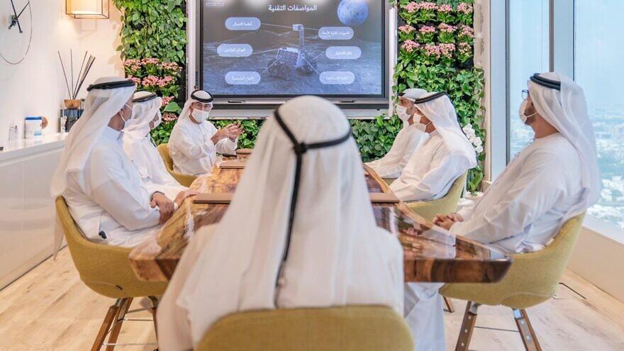 Emirati officials brief Dubai ruler and UAE Vice President Sheikh Mohammed bin Rashid Al Maktoum about a possible moon mission, Sept. 29, 2020, in Dubai, United Arab Emirates. Source: Sheikh Mohammed bin Rashid Al Maktoum/Twitter.