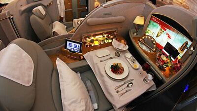 A first-class suite on Emirates airline. Credit: Wikipedia.