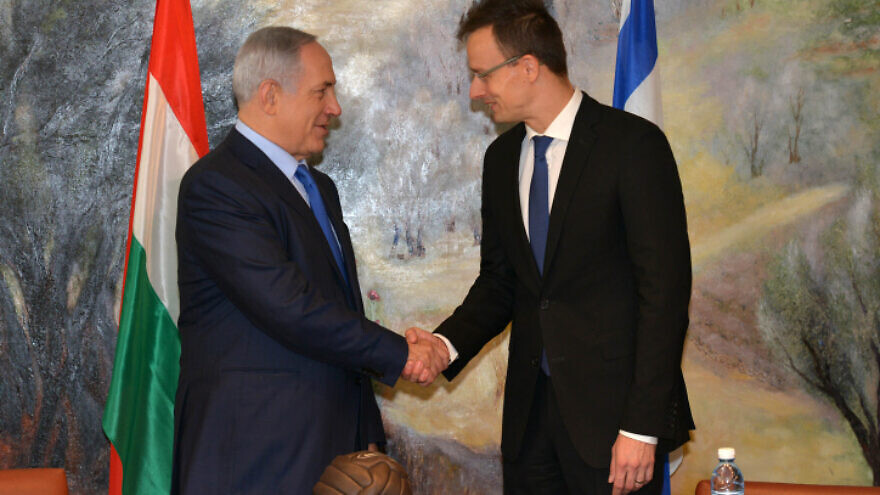 Hungarian Foreign Minister Peter Szijjarto meets with Israeli Prime Minister Benjamin Netanyahu at the Knesset in Jerusalem on Nov. 16, 2015. Photo by Kobi Gideon/GPO.