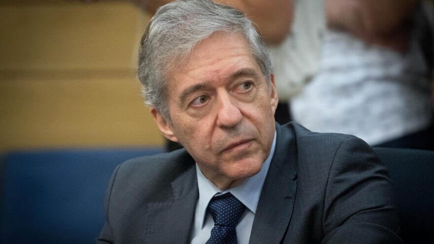 Former Israeli minister Yossi Beilin attends a Constitution, Law and Justice, Committee meeting at the Knesset on July 9, 2017. Photo by Yonatan Sindel/Flash90.