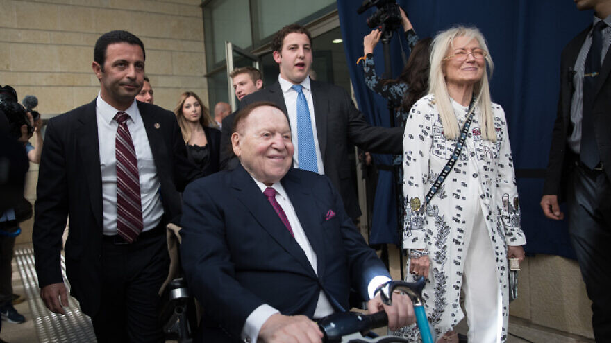 U.S. businessman and philanthropist Sheldon Adelson and his wife, Dr. Miriam Adelson,  at the opening ceremony of the U.S. embassy in Jerusalem on May 14, 2018. Photo by Yonatan Sindel/Flash90.