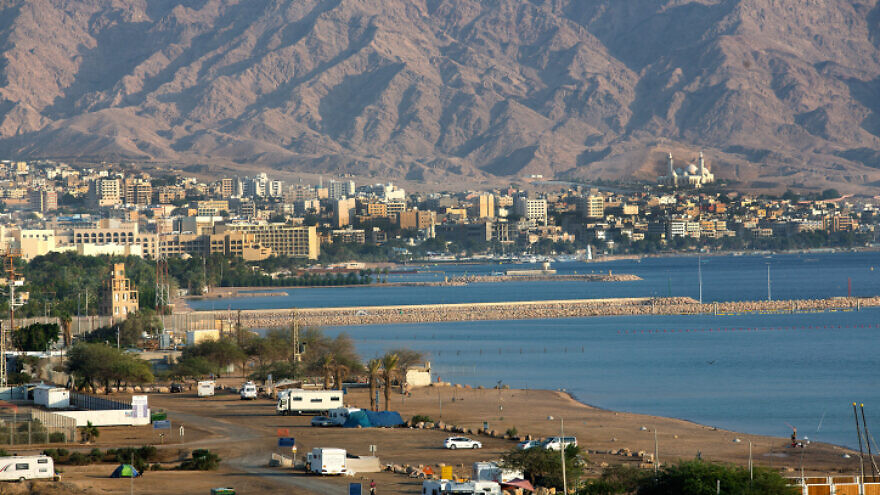 A view of the Jordanian city of Aqaba, as seen from Eilat on Nov. 10, 2019. Photo by Moshe Shai/Flash90.