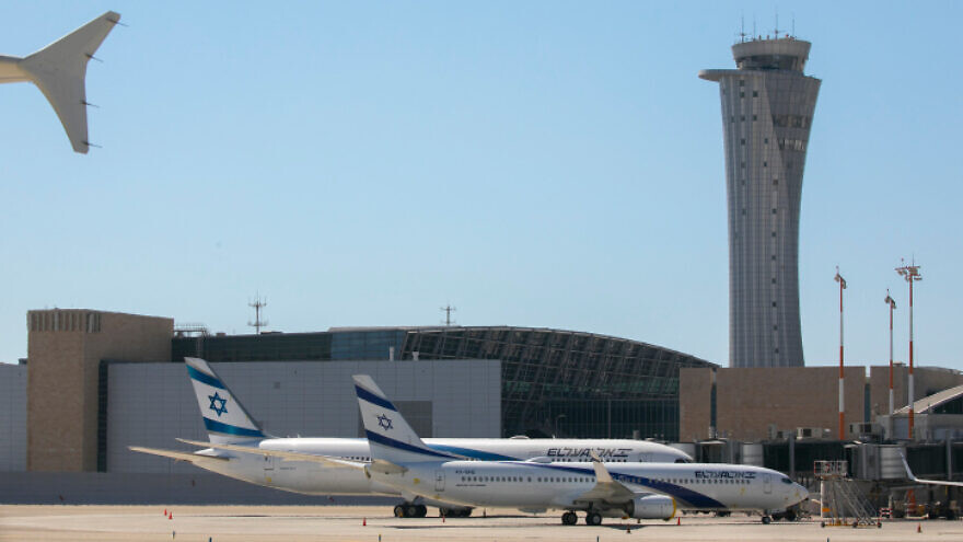 Parked El Al jets near Terminal 3 and the airport tower control at Ben Gurion International Airport, Aug. 08, 2020. Photo by Olivier Fitoussi/Flash90.